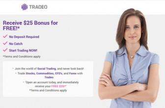 Tradeo | Бездепозитный бонус форекс $25